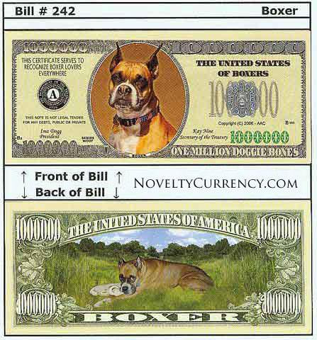 Boxer Dog Novelty Currency Bill