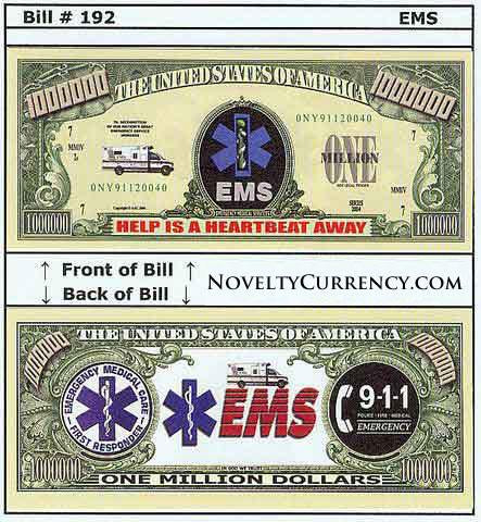 EMS - Emergency Medical Services Novelty Currency Bill