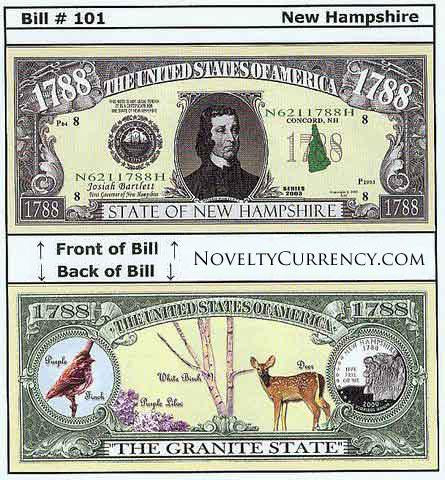 NEW HAMPSHIRE STATE NOVELTYBILL Lot of 10 Bills