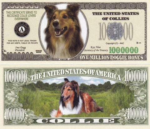 Collie Dog Novelty Currency Bill
