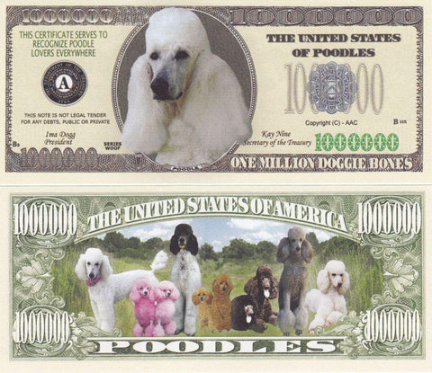 Poodle Dog Novelty Currency Bill