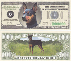 Miniature Pinscher Dog Novelty Currency Bill