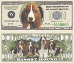 Image of Basset Hound Dog Novelty Currency Bill