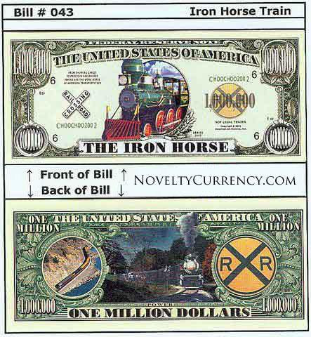 Iron Horse Train Novelty Currency Bill