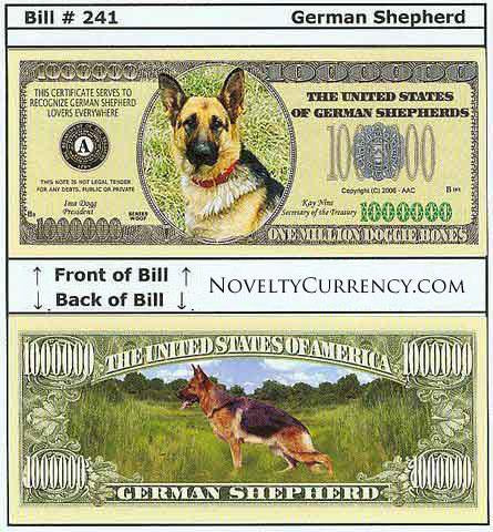 German Shepherd Novelty Currency Bill