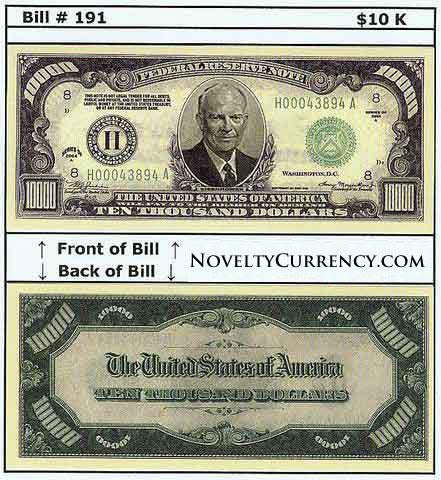 $10,000 Eisenhower Novelty Currency Bill