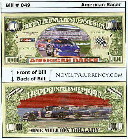American Racer (Stock Cars) Novelty Currency Bill