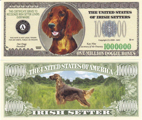 Irish Setter Dog Novelty Cureency Bill