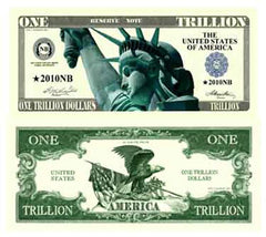 One Trillion Dollar Funny Money Novelty Currency Bill