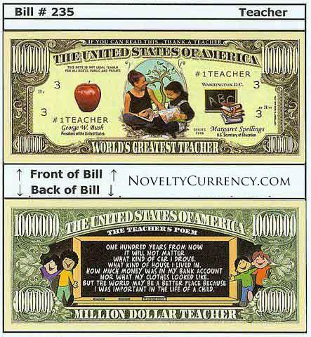 Teacher - World's Greatest Teacher Novelty Currency Bill
