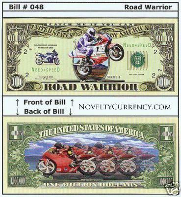 Road Warrior (Racing Bikes) Novelty Currency Bill