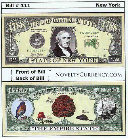 New York  - The Empire State - Commemorative Novelty Bill