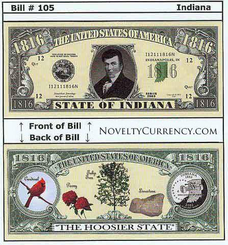 Indiana - The Hoosier State - Commemorative Novelty Bill