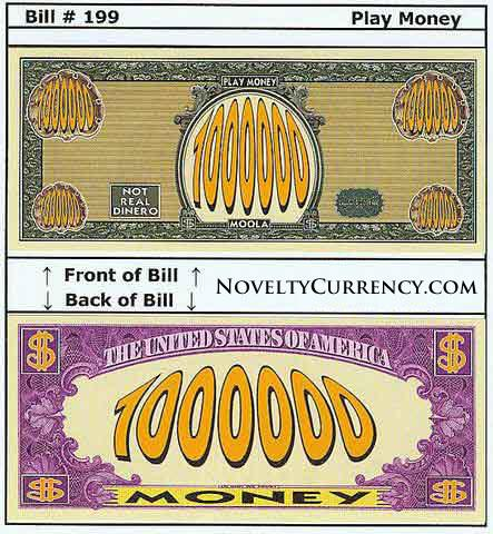 Play Money Novelty Currency Bill