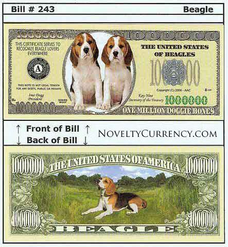 Beagle Dog Novelty Currency Bill