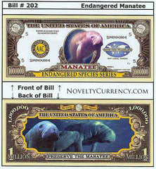 Manatee Endangered Species Novelty Currency Bill