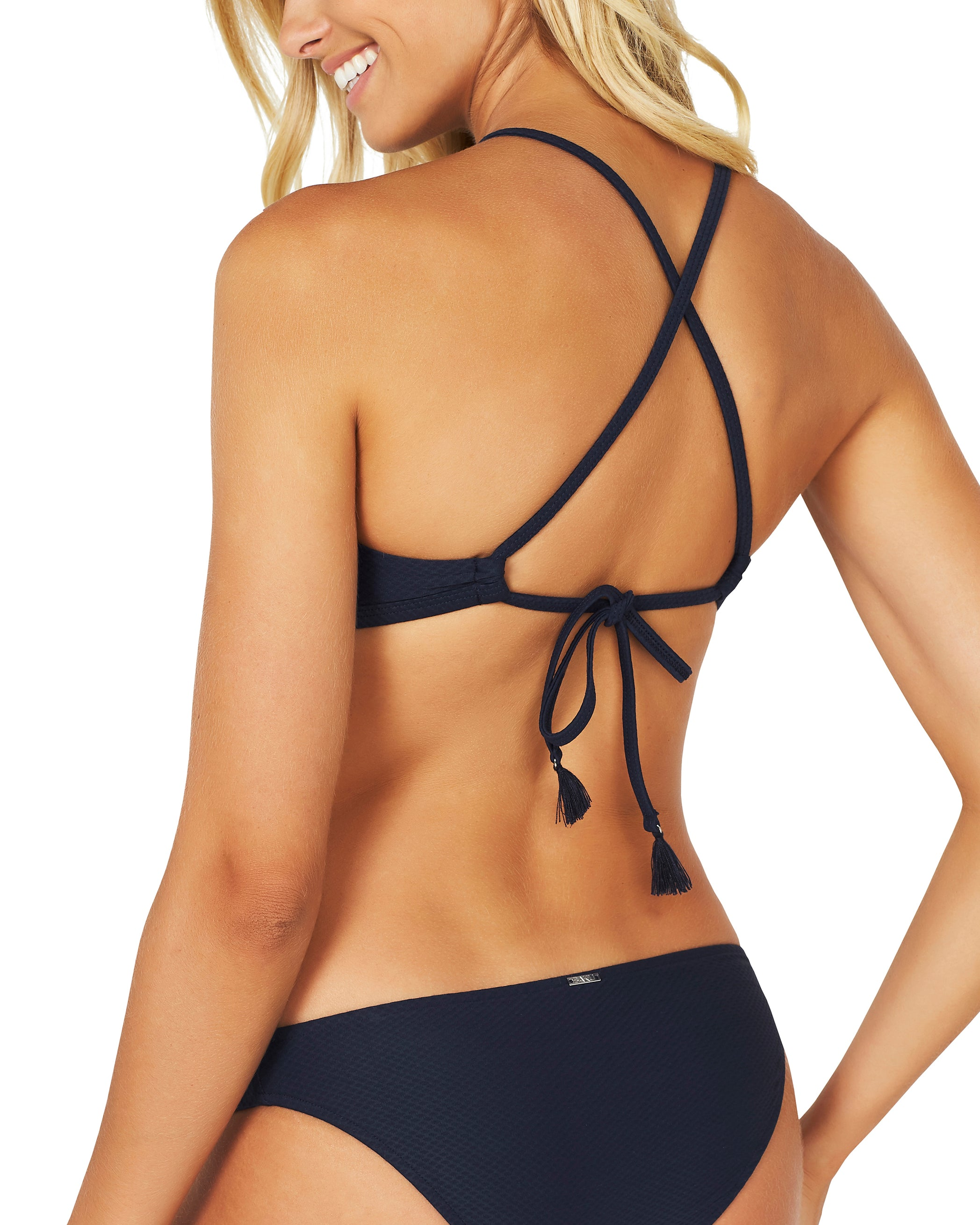 ROCOCCO HIGH NECK LACE UP BRA BIKINI TOP