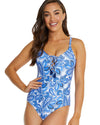 MYKONOS LACE UP PLUNGE ONE PIECE SWIMSUIT