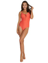 ROCOCCO LACE UP PLUNGE ONE PIECE SWIMSUIT