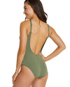 SPOTACULAR LACE UP PLUNGE ONE PIECE SWIMSUIT