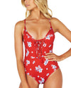 COPACABANA PLUNGE LACE UP ONE PIECE SWIMSUIT