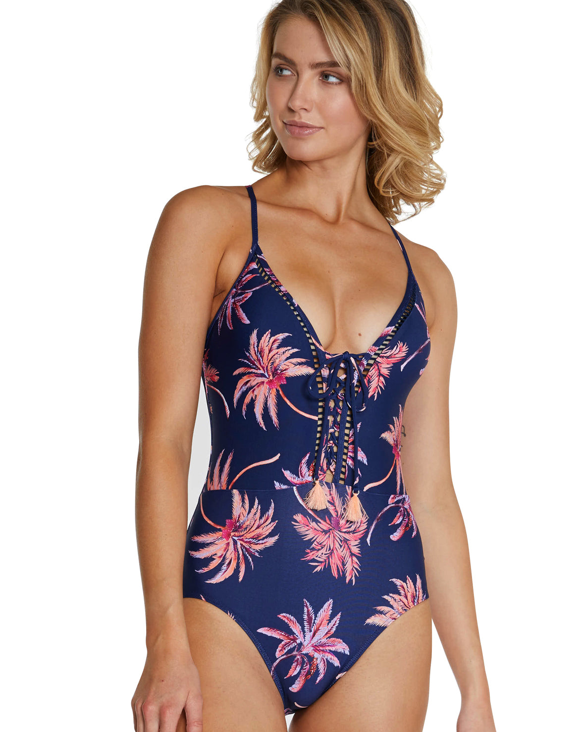 TAHITI PLUNGE LACE-UP ONE PIECE SWIMSUIT