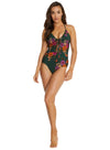SOMERSET PLUNGE LACE UP ONE PIECE SWIMSUIT