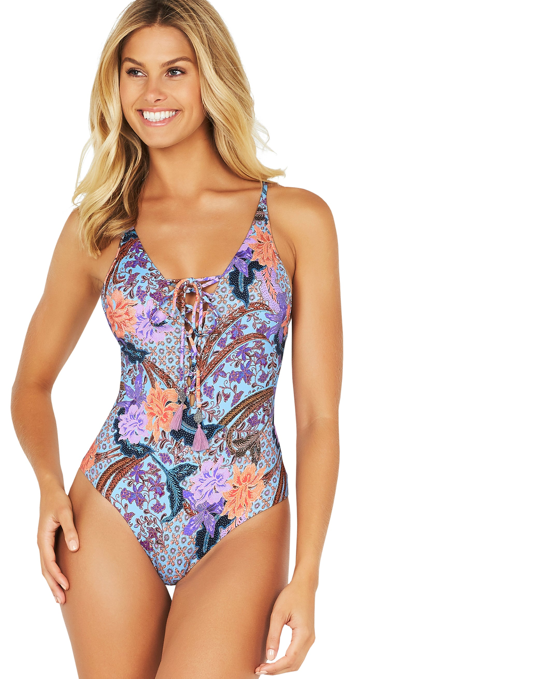 BATIKA BEACH PLUNGE LACE UP ONE PIECE SWIMSUIT