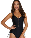 RIBTIDE ZIP FRONT ONE PIECE SWIMSUIT