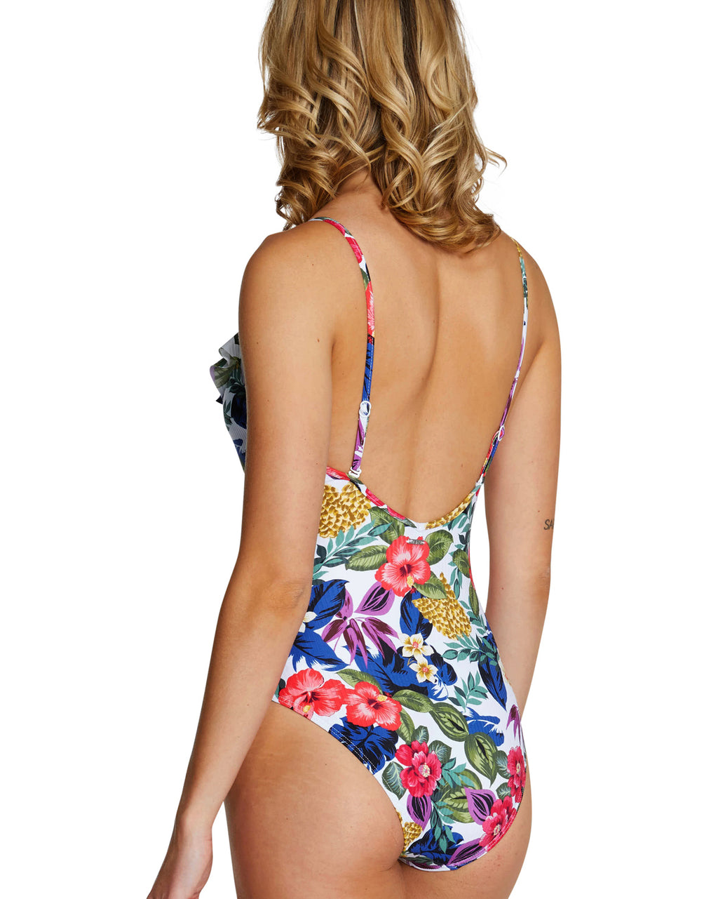 SEYCHELLES ASYMMETRICAL FRILL ONE PIECE SWIMWEAR