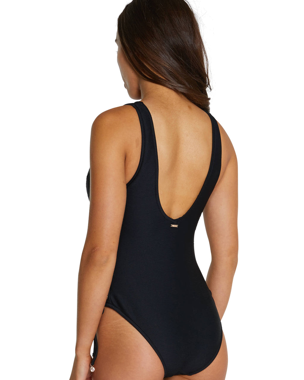 RIBTIDE HIGH NECK ZIP FRONT ONE PIECE SWIMSUIT