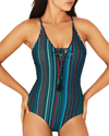 JAMAICA PLUNGE LACE UP ONE PIECE SWIMSUIT