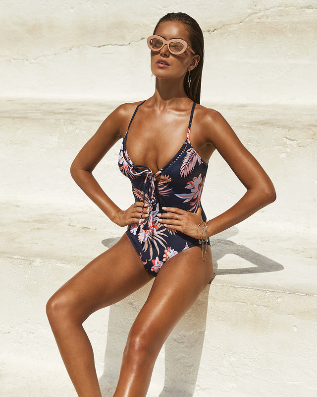 VANUATU PLUNGE LACE-UP ONE PIECE SWIMSUIT
