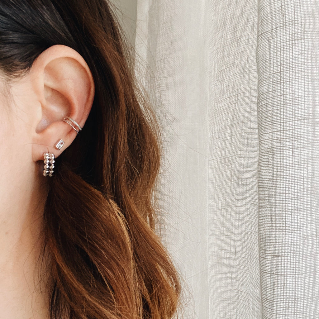 Ear cuff double mixte - argent