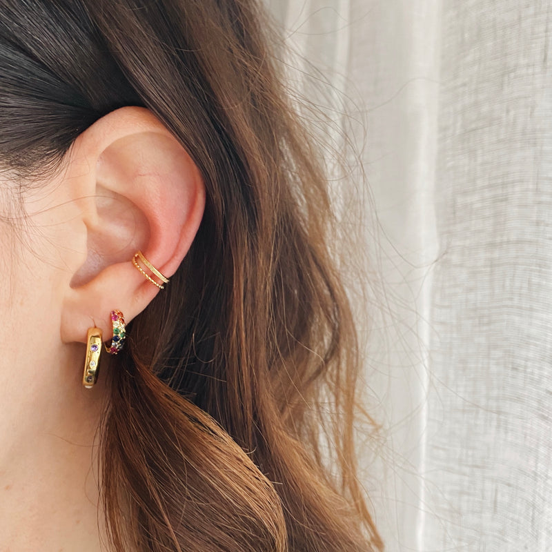 Ear cuff double mixte - or