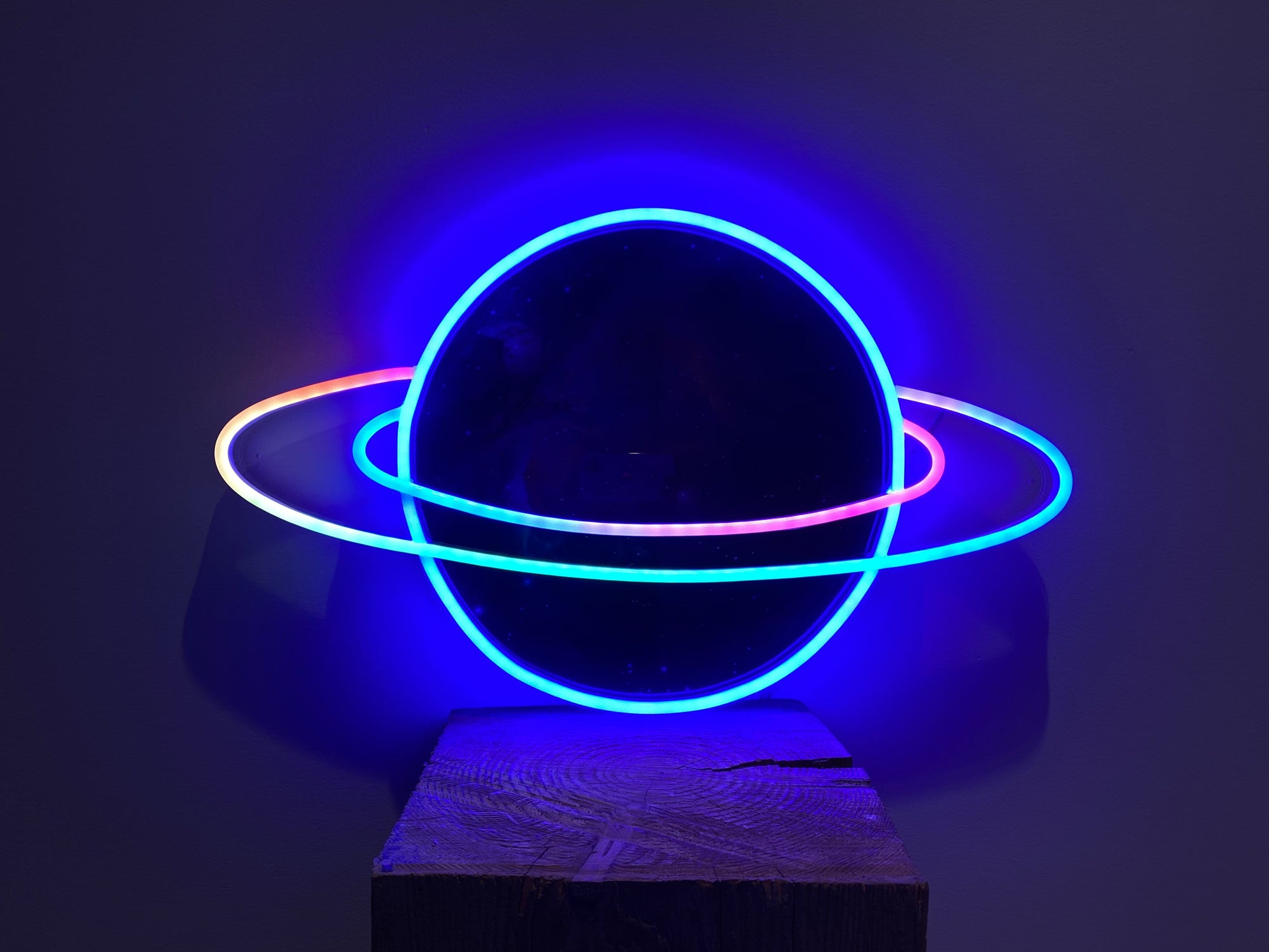 Planet saturn color changing animated LED Neon Sign
