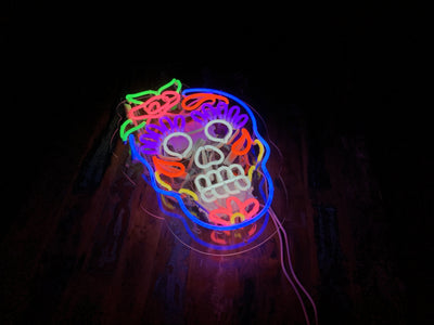 Calavera Skull Neon Sign Wall Mounted