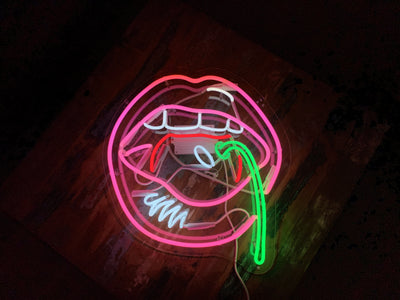 Cherry Lips Neon Sign Wall Mounted