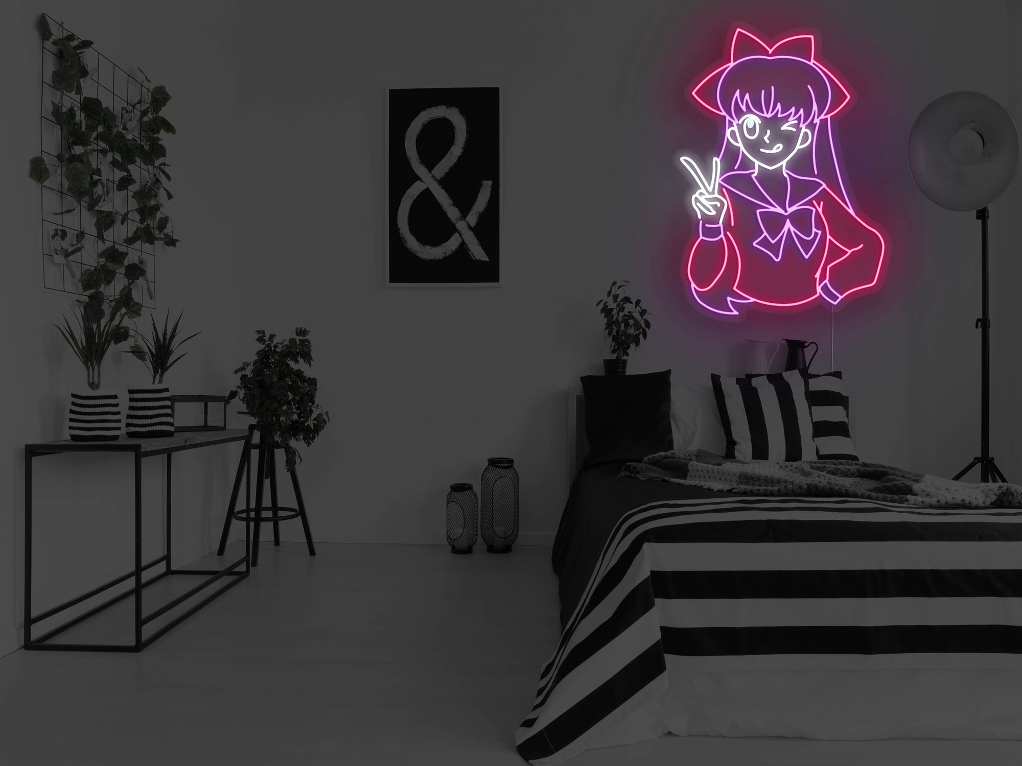 Anime Peace Girl LED Neon Sign
