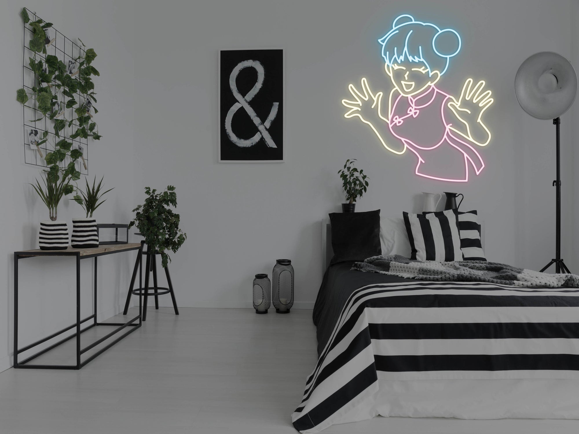 Anime Laughing Girl LED Neon Sign