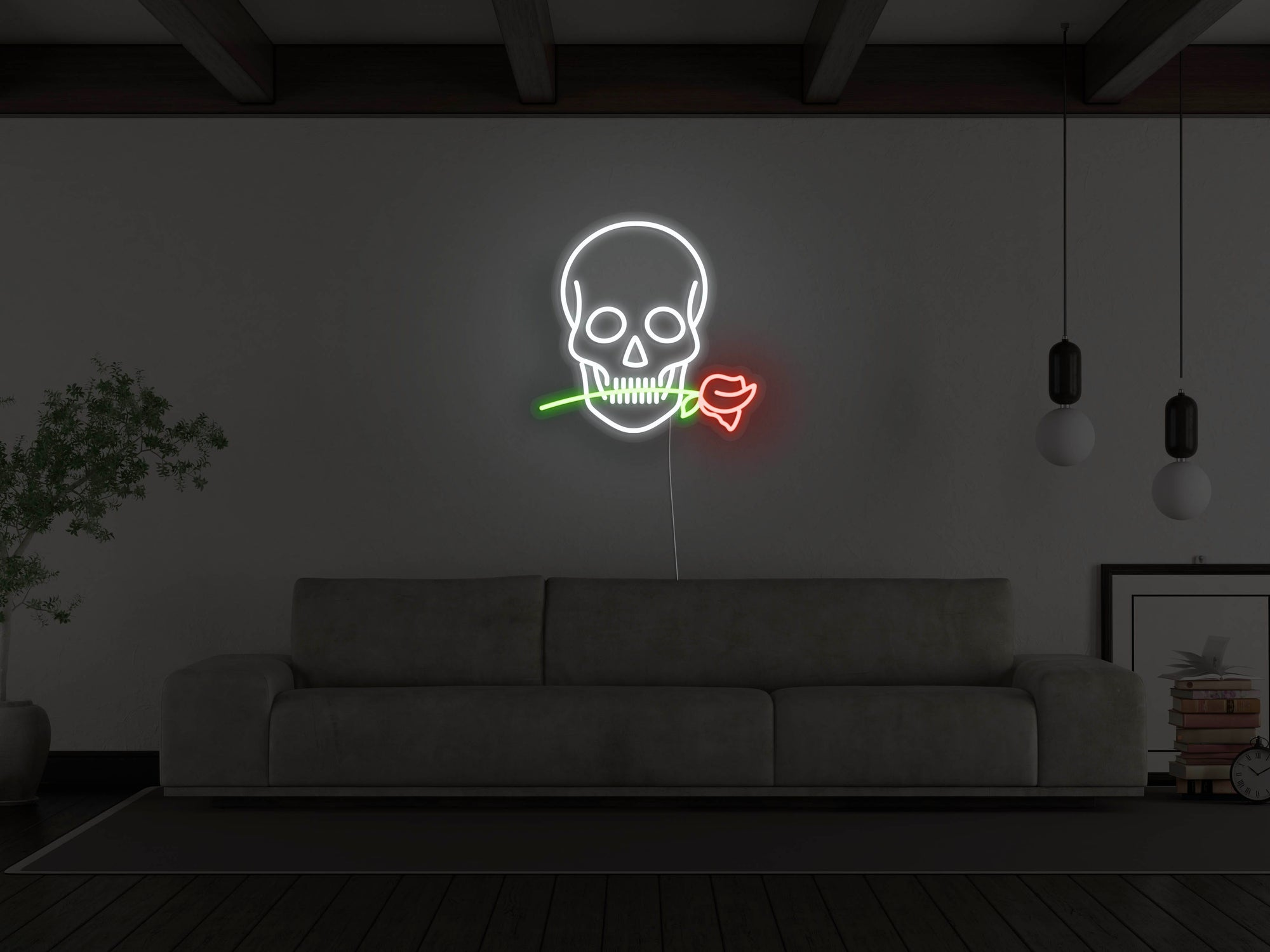 Skull With Rose LED Neon Sign