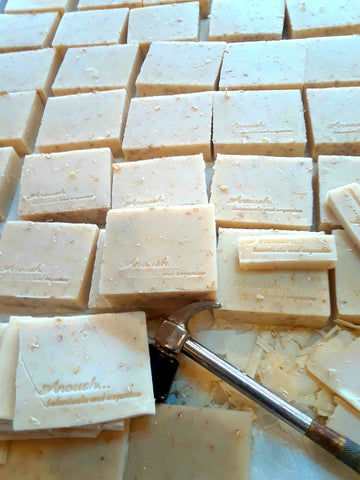 Anoush botanicals and organics Nice & Natural Soap Lavender Oatmeal Bars stamping