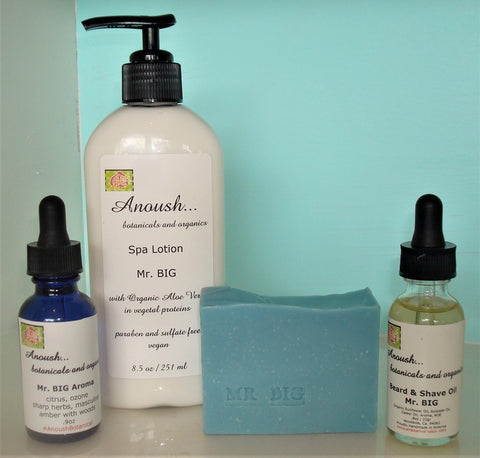 Anoush... botanicals and organics Beard & Shave Oil with Mr Big Personal Care set