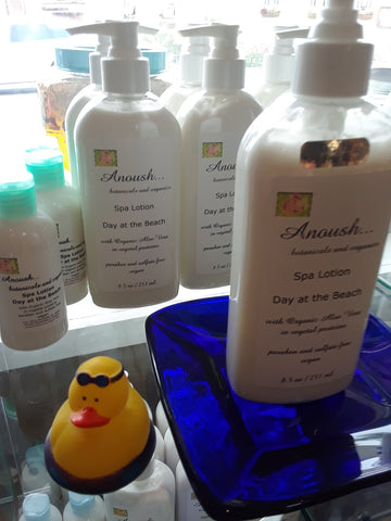 Anoush botanicals and organics Spa Lotion Day at the Beach