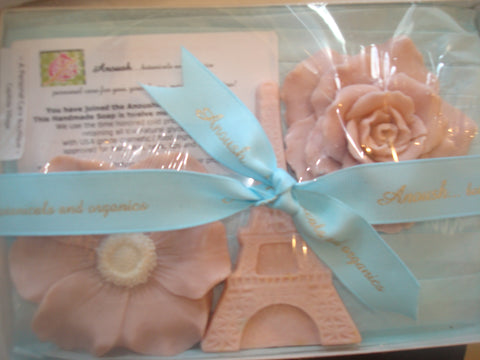 soap ~ a box with a trio of soaps blue ribbon