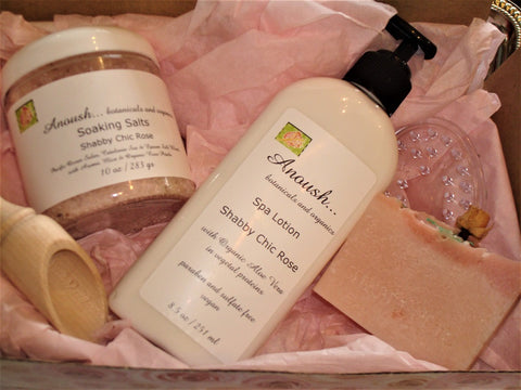 gift set ~ salts, soap, lotion... shabby chic rose box
