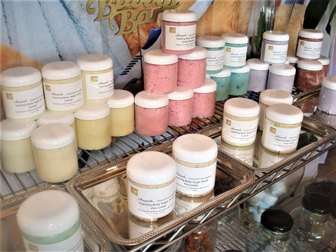 Anoush botanicals and organics Foaming Sugar Scrub display