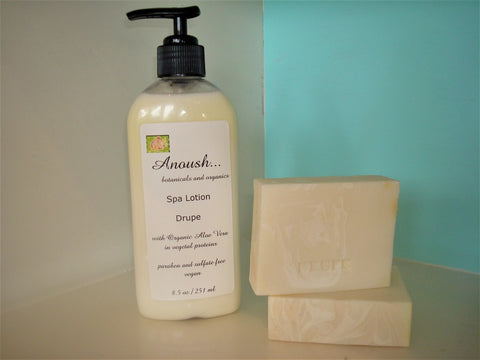 Anoush botanicals and organics Soap Spa Lotion Drupe