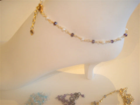 bling ~ anklet amethyst and pearl on gold