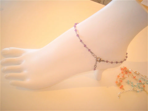 bling ~ anklet amethyst on black